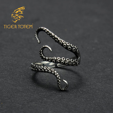 Free Shipping quality Titanium stainless steel cool Gothic Deep sea squid Octopus finger rings fashion jewelry Adjustable sizes