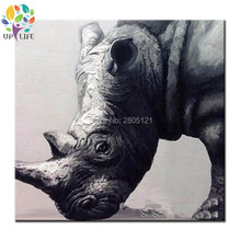 Handmade Decor Works High Quality Abstract Animal Modern Wall Art black rhinoceros Oil Painting On Canvas Wall Artworks