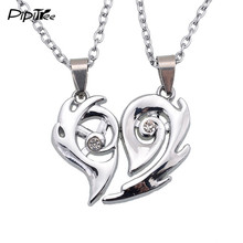 2 pcs/lot,Fashion Love Heart Pendant Necklaces for Women Men Stainless Best Friends Couple Necklace for Lovers Couple Jewelry