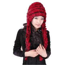 lady fur hat Warm Ultra long ear protector genuine fur women autumn winter scarf,red white black gray hat of rex rabbit H576(China)