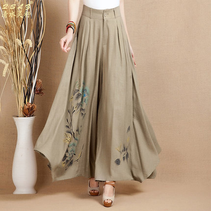 Women's 2019 summer new retro linen wide leg pants and long sections printing large female fashion casual pants M-XXL