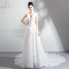 Buy Walk Beside Beach Wedding Dresses A-line Deep V-neck Organza Sweep Train Pleats Floral vestido de noiva Elegant Bride Gowns for $86.20 in AliExpress store