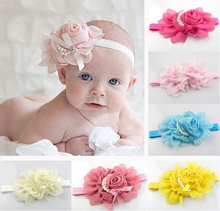 2017 Newborn Cute   Pearl Rose Flower Hair Band Chiffon Lace   Headband Ribbon Elasticity Hair Accessories Headwear
