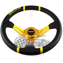 1PC Momo Steering Wheel  PVC 14inch Yellow Deep Drifting