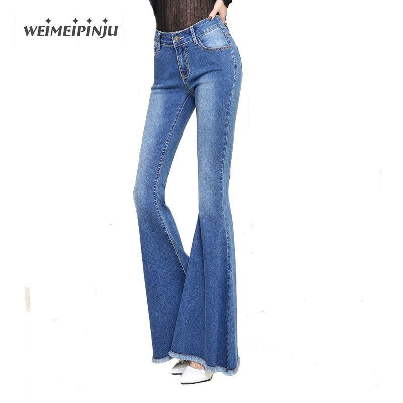Ladies Skinny Jeans Boyfriend High Waist Bell Bottom Jeans For Women Blue Denim Bell Bottom Flare Pants Mom Jeans Woman TrousersÎäåæäà è àêñåññóàðû<br><br>