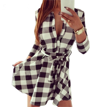 Hot Sale Women Vintage Dress Autumn Fall Plaid Check Print Spring Summer Casual Shirt Dresses Mini Fit Flare Black White Red