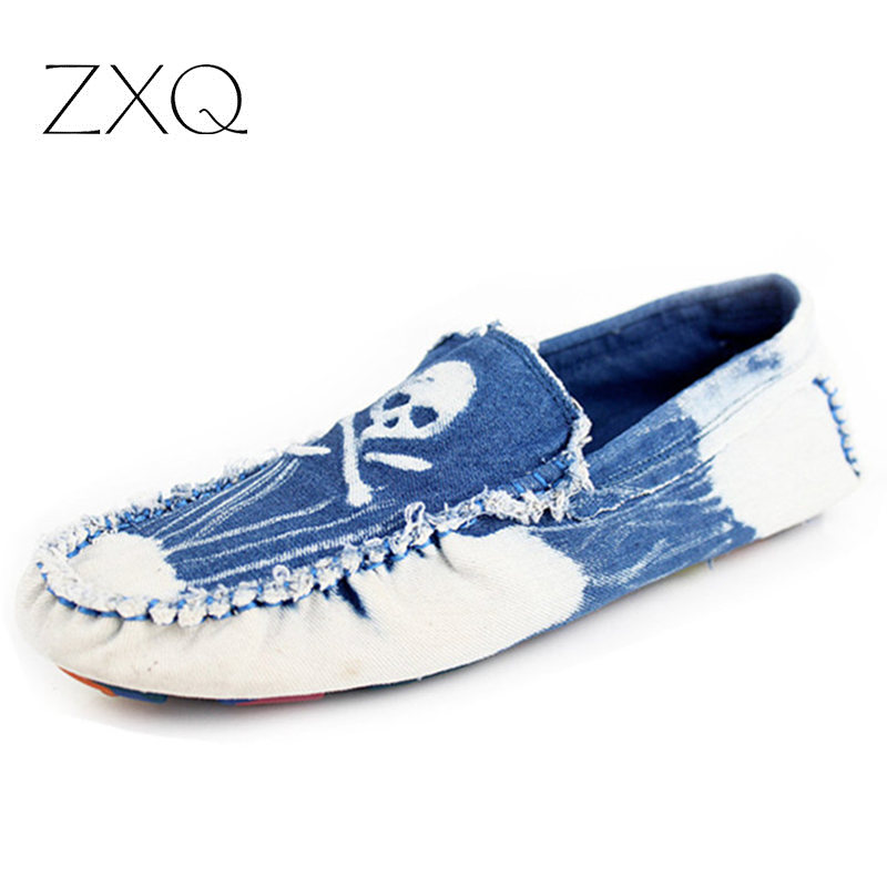 European Style Men Canvas Loafers Shoes Slip On Skull Pattern Male Summer Driving Flat Shoes<br><br>Aliexpress