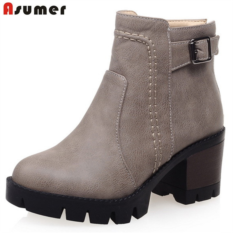 Asumer 2018 Ankle boots for women fashion punk high heels shoes woman platform boots PU solid zip womens boots big size 34-43<br>