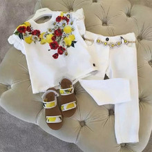 baby girls clothes set lemon printed white chiffon shirt with long trousers for 3-10years old children clothing set
