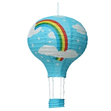 12inch Hot Air Balloon Paper Lantern Lampshade Ceiling Light Wedding Party Decor, Blue Rainbow(China)