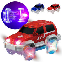 1PCS Children's Toys Electric Car Flashing Toys Non Remote Control Vehicle Gift Boy Toy Car Model Transparent Luminous Track Car(China)