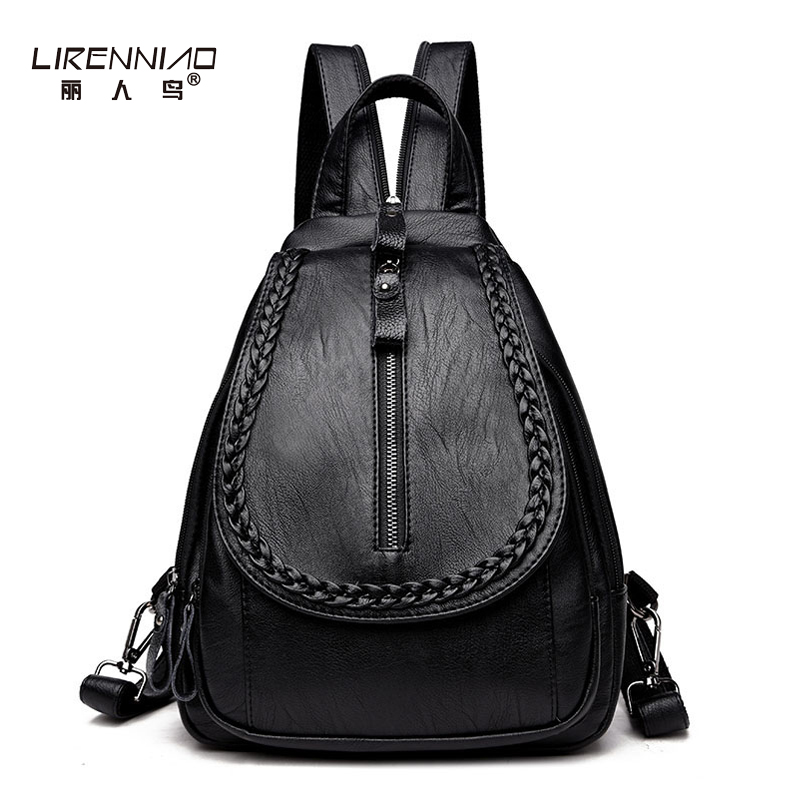 LIRENNIAO Famous Brand Women Backpacks Knitting Vintage School Bags Teenagers Girls Black Leather Backpack Mochilas Mujer 2017<br>