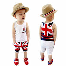 Summer Toddler Sports suit Kids Baby Boys Union Jack Outfits Vest Tops Pants Set Clothes with high quality 2-7 years oldM9(China)