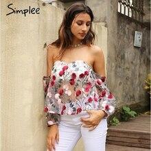 Simplee Вышивка блузка рубашка женская blusas с открытыми плечами летние вечерние блузы и рубашки прозрачной сетки блузка Сорочка Роковой(China)