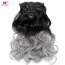 "Neverland 7pcs/set Full Head Synthetic Wavy Clip In Hair Extension 20"" Grey Silver Ombre Hair Hairpiece Heat Resistent Fiber(China)"