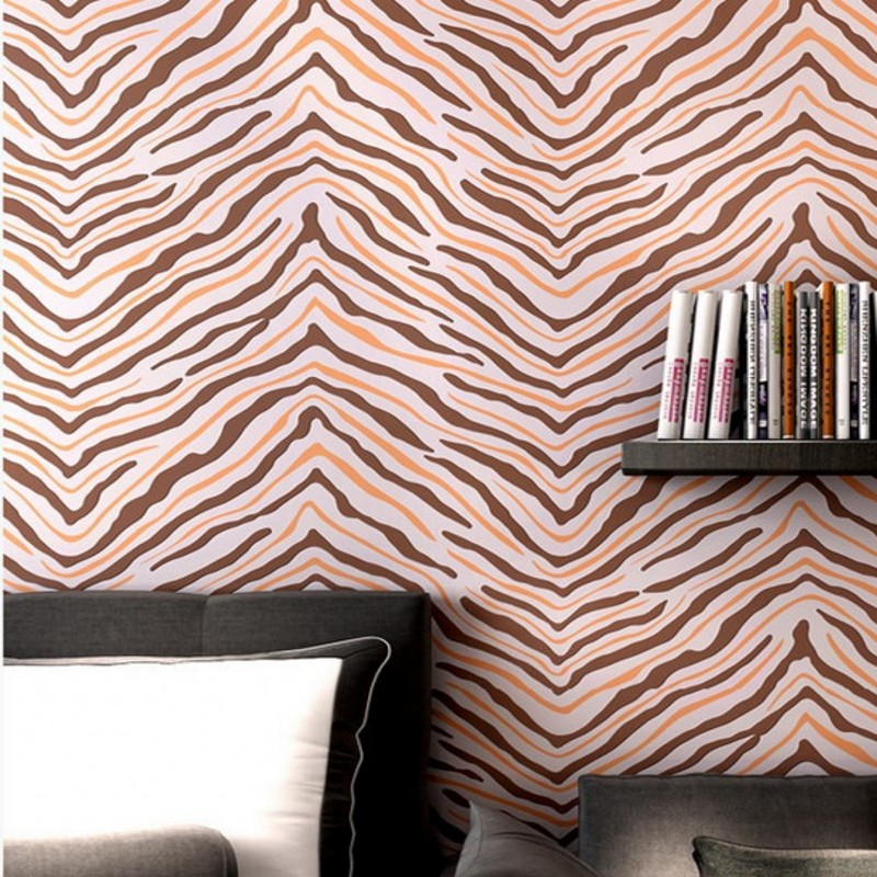 Free Shipping modern non-woven wallpaper features zebra 3D stereo relief bedroom living room hotel wallpaper<br>