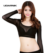Ladies Mesh Net Hollow Short Crop Top Midriff Shirt Long Sleeves Sexy Slim Fit Elastic White Black Nightwear 904-396(China)