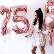 MMQWEC 2pcs 25 Birthday Foil Balloons Party Decorations
