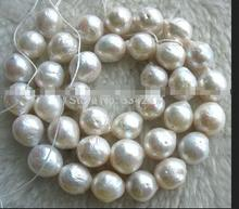 2Strand Jewelry 14Inch wholesales 9-10MM Genuine Freshwater Natural pearl white reborn keshi