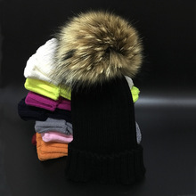 Winter Girls Boys Fur Pom Pom Beanies Hats Cotton Beanies Cap For Baby Lovely Winter Knitted Hats With Fur PomPom Hats Kids(China)