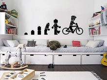 Evolution Of The Cycling Lego man Wall Art Sticker Childrens Vinyl Mural Nursery Home Decor Mural Wallpaper D350