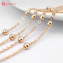 1 Meter width 1.6MM 24K Champagne Gold Color Plated Brass Station Ball beads Flat Oval Chains Necklace Chains Accessories(China)