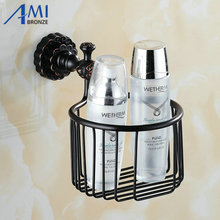 Twin Flowers Series Carving Brass Black Round Bathroom Basket Paper Holder Bathroom Accessories Toilet Vanity(China)