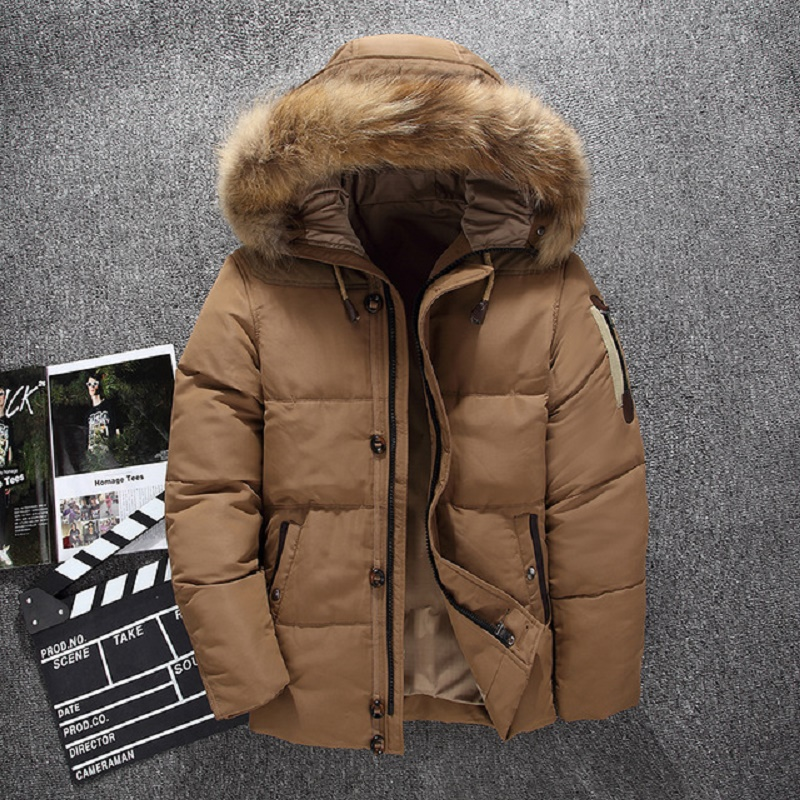 Fashion Brand 2019 New Men's White Duck Down Jackets Winter Warm Fashion Down Coat Male Hooded Overcoat Mens Winter Jacket