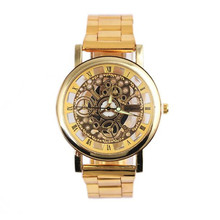 2017New Women Men Fashion Men Steel Strip Mechanical Gear Watch Digital Quartz Wrist Watch Gift relogio Alloy P5