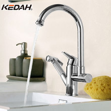 KEDAH Kitchen Pull Single Hole Ceramic Plate Spool 360 Rotate Dual Holder Contemporary Faucet Sink Cold/Hot Water A8701 - Online Shopping Store store