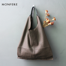 MONFERE fashion genuine leather women bag casual HOBO shoulder bags soft large bucket shopping bags first skin cowhide tote bag(China)