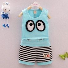 2pcs Summer New Baby Kids Boy Girls Clothes Set Cotton Cartoon Pattern Vest+ Stripe Shorts  Clothing Set Children Suit