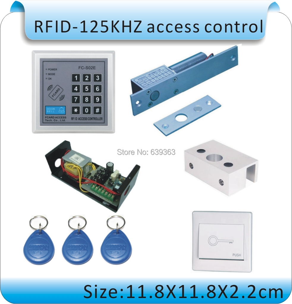 DIY Glass door RFID 125KHZ access control machine /electric lock doors +power supply+ switch+10pcs key cards<br>
