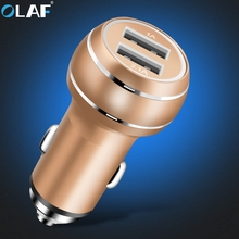 Olaf High quality Car Phone Charger 2 Port Quick Charge 5V 2.4 A Car-Charger Fast Car USB Charger for Samsung Huawei HTC Tablet(China)