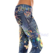 Women's Fashion Jeans Look Skinny Jeggings Stretchy Slim Leggings Soft Pants New(China)