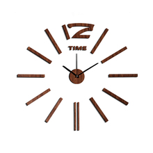 New Arrival 10EW103 Fashion sticker EVA kitchen wall clock Wood colour large decorative 3d diy wall clock big