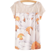 Colorful Women Sunflower Short Sleeve Lace Floral Print Shirt Women T-shirt HQ