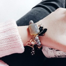 eManco Bohemian Vintage Style Romantic Heart Charms Bracelets for Women Stone Crystal & Feather Bracelet Fashion Jewelry
