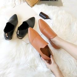 MCCKLE/женские лоферы; обувь из мягкой кожи; женские слипоны на низком каблуке; Повседневная Классическая однотонная женская обувь с острым но...