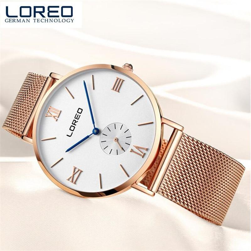 LOREO Women Dress Watches Woman Quartz Watch Genuine Leather reloj Female Calender Waterproof Wristwatches Christmas gift O94<br>