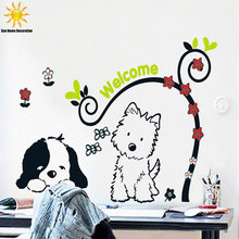 Little Dog Cartoon Children Wall Sticker Bedroom Decor Wall Stikers For Kids Room VinRl Household Products Autocollant Mural