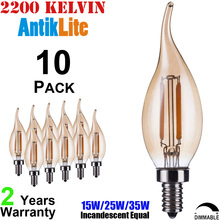 15//25/35 Watt 15W/25W/35W Incandescent Equal 230 Volts 220-Volt 240 Volts CA35 Bent Tipped LED Filament Bulb C35 E14 2/4/6/W