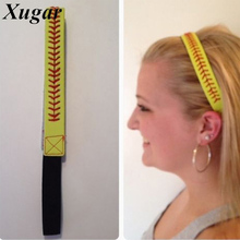 Fashion Leather Headband Softball Baseball Hair Bands For Women Elastic Head Wrap Headwear Girls Hair Accessories 10 Colors(China)