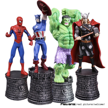 Marvel Avengers Superhero Chess Hulk Spiderman Captain America Thor Iron Man PVC Action Figure Collectible Model Toy 5 Types