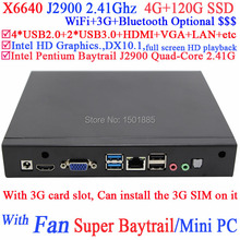 OEM new mini pc,ubuntu mini pc micro computer with Intel Pentium Baytrail J2900 Quad Core 3G card slot 4G RAM 120G SSD