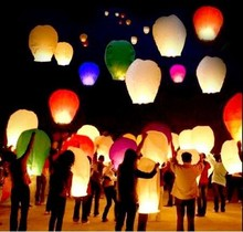 200pcs Multicolor Paper Chinese wishing lantern Flying hot air balloon Fire Sky lantern Decor for Birthday Wish Wedding Party(China)