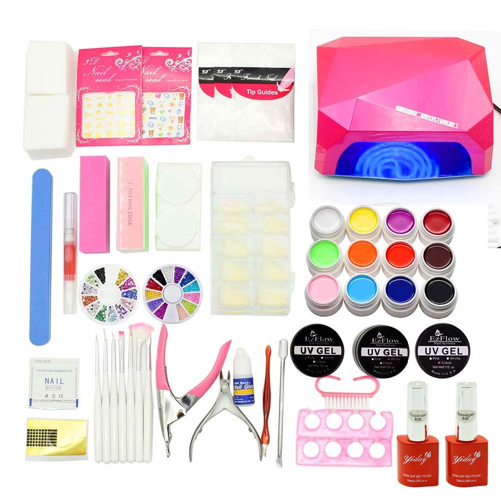 nail set 36W LED Lamp + 12 Color UV/LED Gel + Builder Gel for nail extensions base top coat Nail Art tools varnish manicure kit<br>