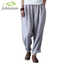 Johnature 2017 New Autumn Women Loose Cotton Linen Trouser Casual Elastic Waist Straight Vintage Female Pants