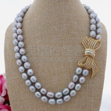 "N100205 19""-20"" 2Strands Grey Rice Pearl Necklace CZ Pendant(China)"