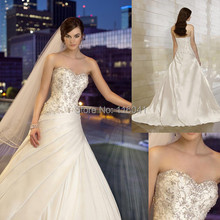 New Style Factory Custom Make Ball Gown Strapless Luxury Crystal Beaded Satin Wedding Dresses Essense of Australia